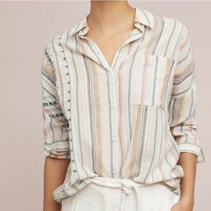 Anthropologie Akemi Kin Striped Button Down Tunic